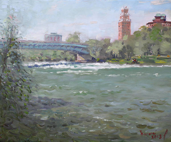 Office Buildings Wall Art - Painting - Niagara Falls River Ny by Ylli Haruni