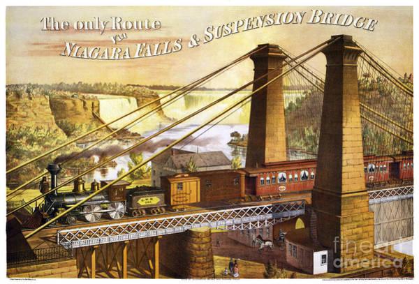 Vintage Railroad Painting - Niagara Rail Over Suspension Bridge by Pablo Romero