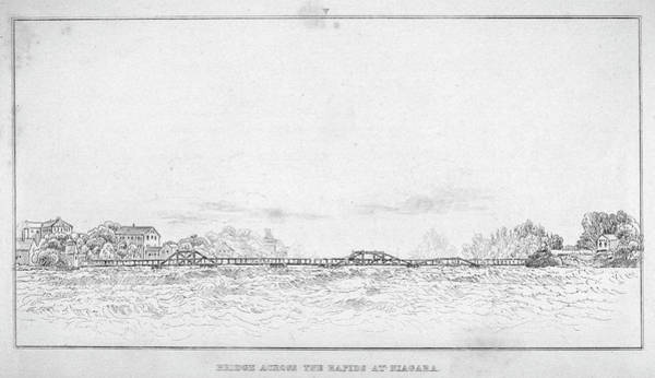 1880 Drawing - Niagara River Bridge by Granger