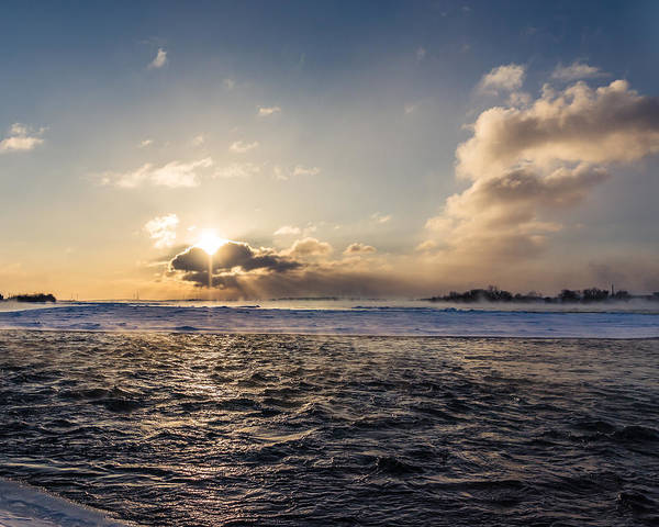 Photograph - Niagara River Winter Sunrise by Chris Bordeleau