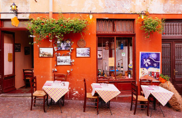 Photograph - Nice Little Street Cafe In Luino Italy by Matthias Hauser