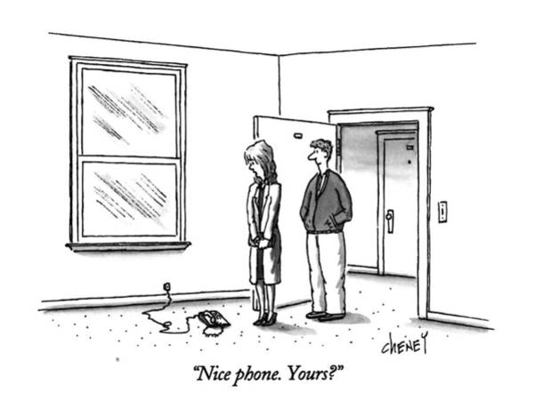 November 11th Drawing - Nice Phone.  Yours? by Tom Cheney