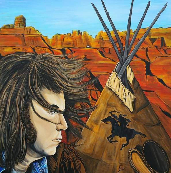 Musical Theme Painting - Neil At The Canyon by Edward Pebworth