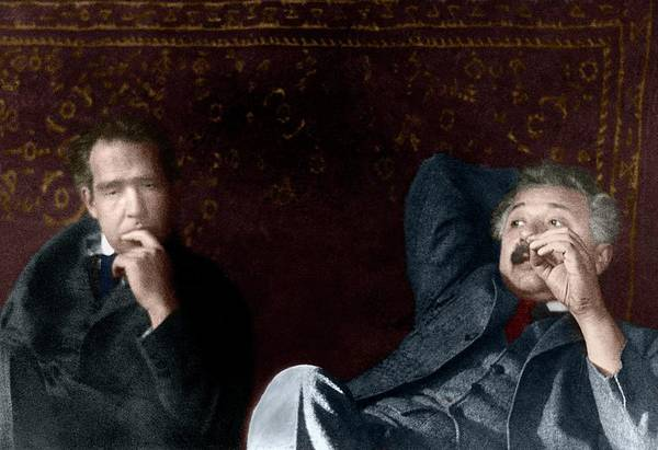 Photograph - Niels Bohr And Albert Einstein by Photograph By Paul Ehrenfest, Copyright Status Unknown. Coloured By Science Photo Library From A Monochrome Courtesy Of American Institute Of Physics