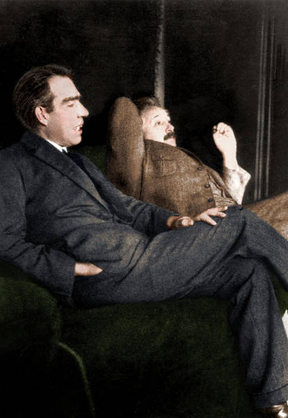 Niels Bohr And Albert Einstein Art Print by Photograph By Paul Ehrenfest, Copyright Status Unknown. Coloured By Science Photo Library