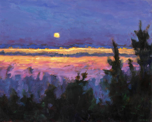 Painting - Night Across The Bay by Vernon Reinike