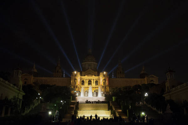 Photograph - Night At Montjuic Barcelona by Dubi Roman