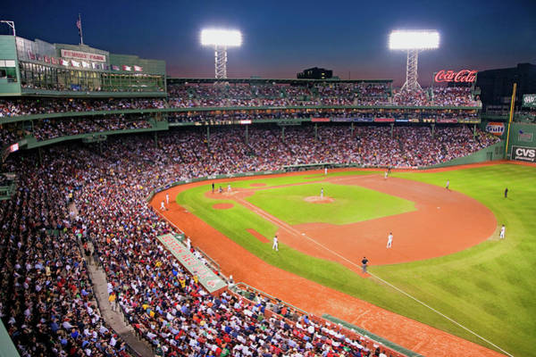Playing Field Photograph - Night Baseball Game At Historic Fenway by Panoramic Images