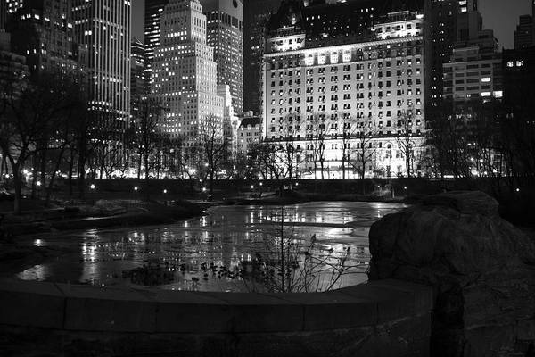 Night Central Park Lake H Art Print