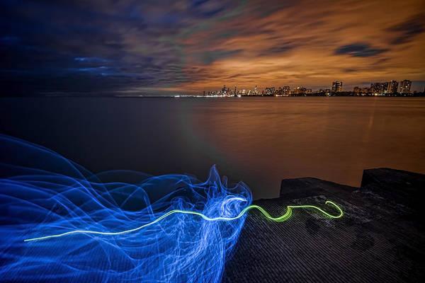 Photograph - Night Chicago Skyline With Light Painting by Sven Brogren