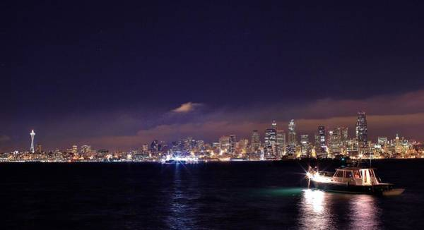 Fantasy Wall Art - Photograph - Night City View Of Downtown Seattle by Tony Castle
