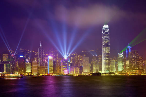 Two Harbors Photograph - Night Cityscape Of Hongkong by Ithinksky