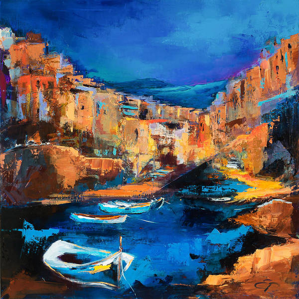 Wall Art - Painting - Night Colors Over Riomaggiore - Cinque Terre by Elise Palmigiani