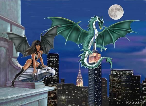 The Empire State Building Digital Art - Night Dragon by Glenn Holbrook