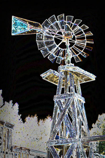 Mixed Media - Night Drawing Windmill Antique In Color 3005.04 by M K Miller