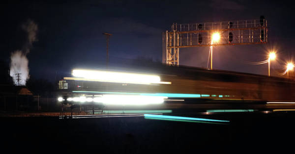Quick Wall Art - Photograph - Night Express - Union Pacific Engine by Steven Milner