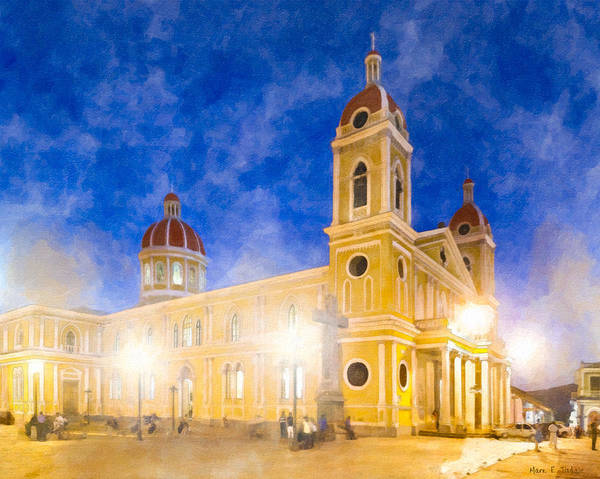 Wall Art - Photograph - Night Falls Over Granada Cathedral by Mark Tisdale