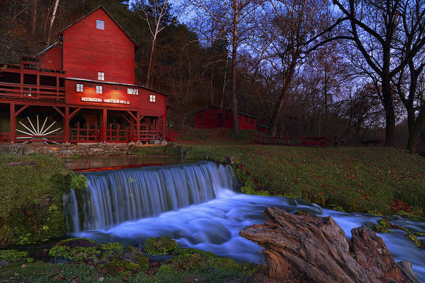 Photograph - Night Falls Upon The Old Hodgson Water Mill - Missouri - Waterfall by Jason Politte