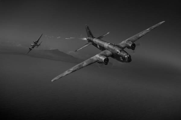 Junkers Digital Art - Night Fight Black And White Version by Gary Eason