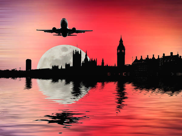 Wall Art - Photograph - Night Flight Over London by Sharon Lisa Clarke