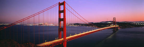 Suspended Photograph - Night Golden Gate Bridge San Francisco by Panoramic Images