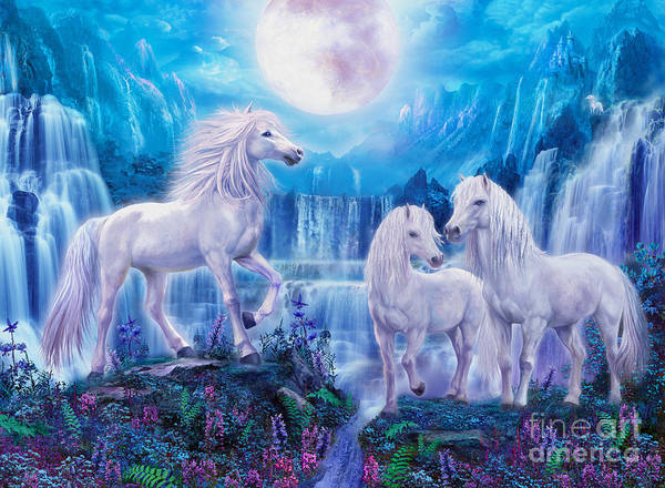 Unicorn Digital Art - Night Horses by MGL Meiklejohn Graphics Licensing