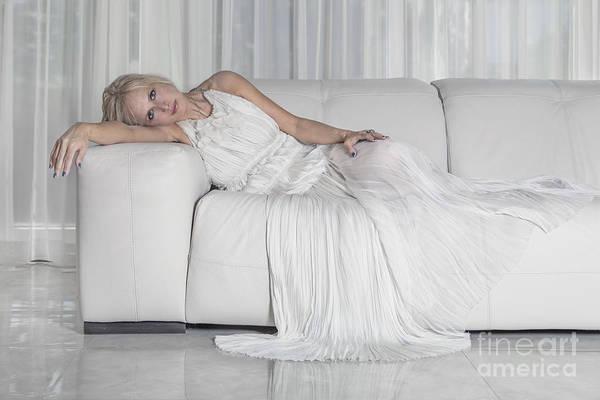Elegant Lady Wall Art - Photograph - Night In White Satin by Evelina Kremsdorf