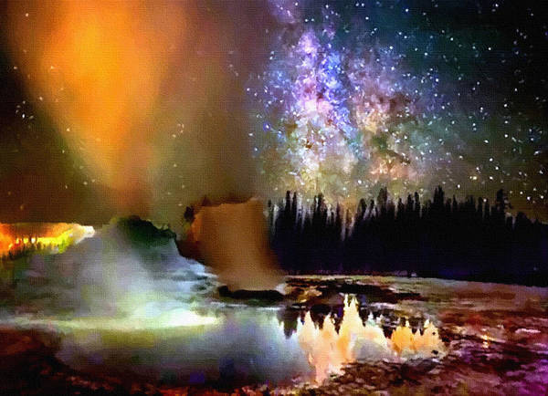 Painting - Night In Yellowstone National Park by Bob and Nadine Johnston