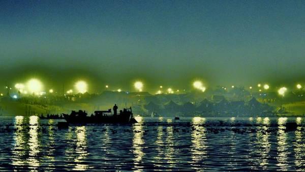 Photograph - Night Lights On The Ganges - Kumbhla Mela - Allahabad by Kim Bemis
