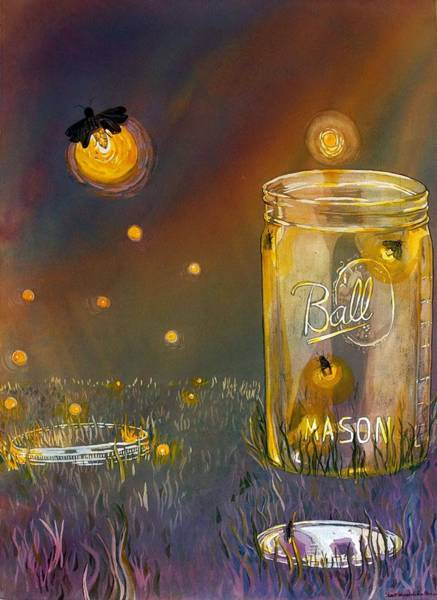 Firefly Painting - Night Lights by Starr Weems