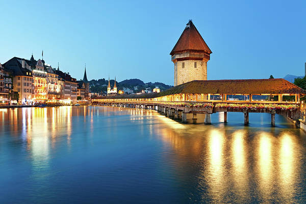 Chapel Bridge Photograph - Night Lucerne, Switzerland by Rusm