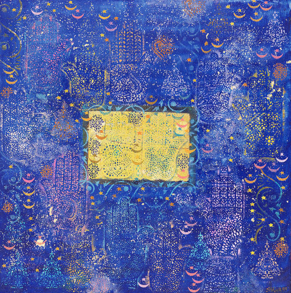 Hamsa Wall Art - Photograph - Night Of Destiny, 1990 Acrylic & Gold Leaf On Board by Laila Shawa