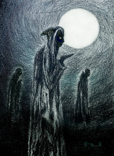 Drawing - Night Of The Mad Monks by Hartmut Jager