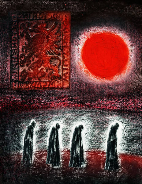 Drawing - Night Of The Red Moon by Hartmut Jager