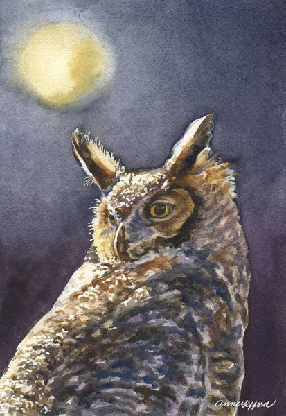 Full Moon Night Painting - Night Owl by Anne Gifford