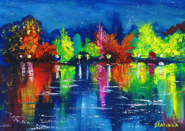 Painting - Night Park By The River Lanterns Trees by Ekaterina Chernova