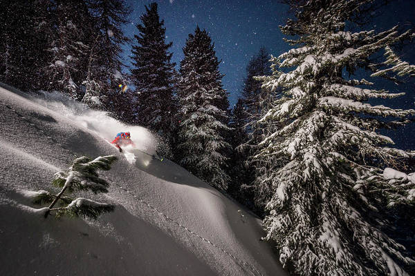 Wall Art - Photograph - Night Powder Turns With Adrien Coirier by Tristan Shu