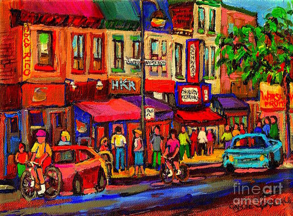 Painting - Night Riders On The Boulevard Rue St Laurent And Napoleon Deli Schwartz Montreal Midnight City Scene by Carole Spandau