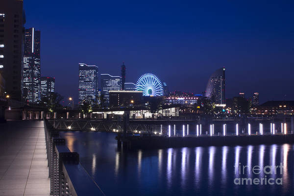 Photograph - Night Scene In Blue Of Minatomirai In Yokohama by Beverly Claire Kaiya