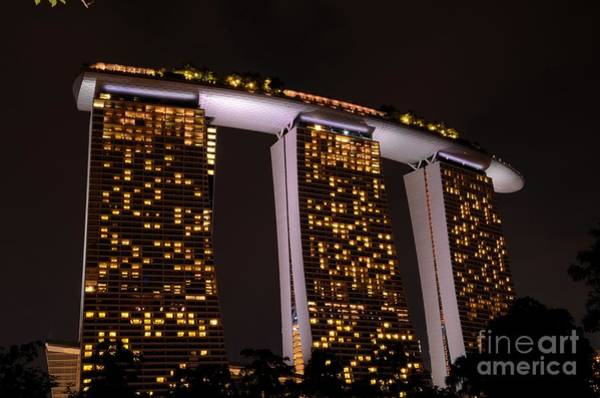 Photograph - Night Shot Of Marina Bay Sands Integrated Resort With Skypark Singapore by Imran Ahmed