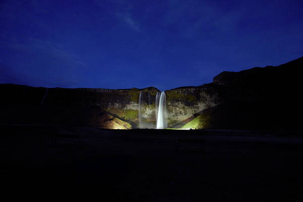 Beauty Spot Photograph - Night Shot Of Seljalandsfoss by Kennet Havgaard