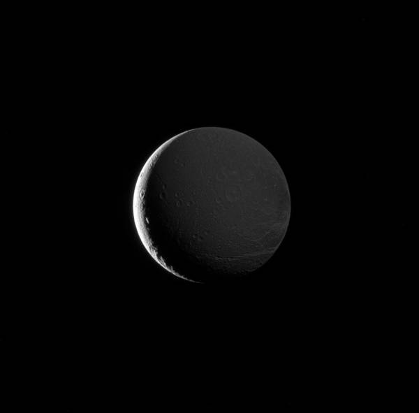 Dione Photograph - Night Side Of Saturns Moon, Dione by Science Source