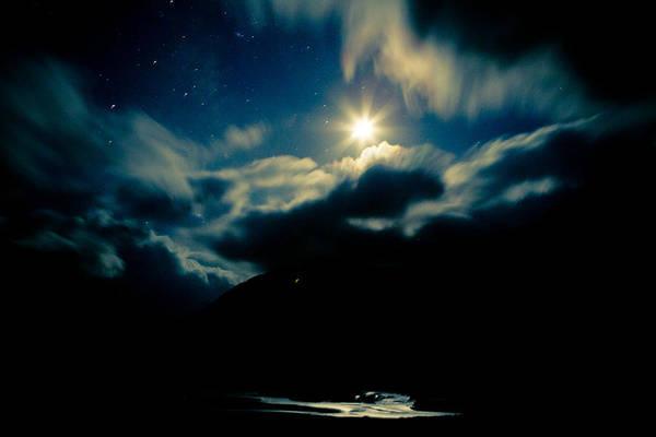 Night Sky And Moon Himalyan Art Print