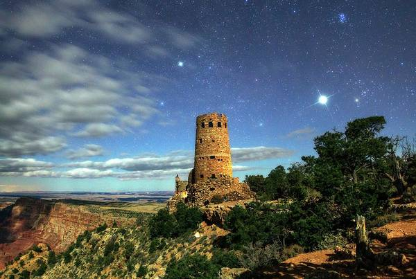 Desert View Tower Photograph - Night Sky Over Grand Canyon Watchtower by Babak Tafreshi