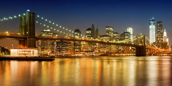 Wall Art - Photograph - Night-skyline New York City by Melanie Viola