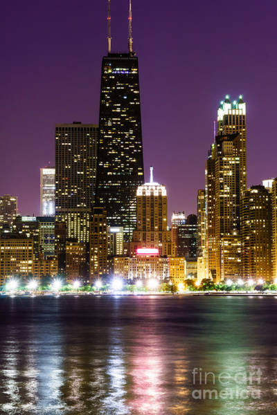 Hancock Tower Photograph - Night Skyline Of Chicago by Paul Velgos