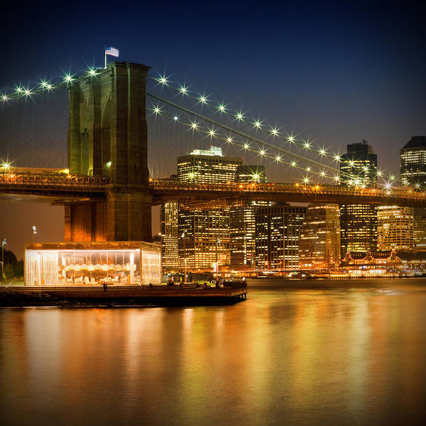 Town Square Photograph - Night-skylines New York City by Melanie Viola