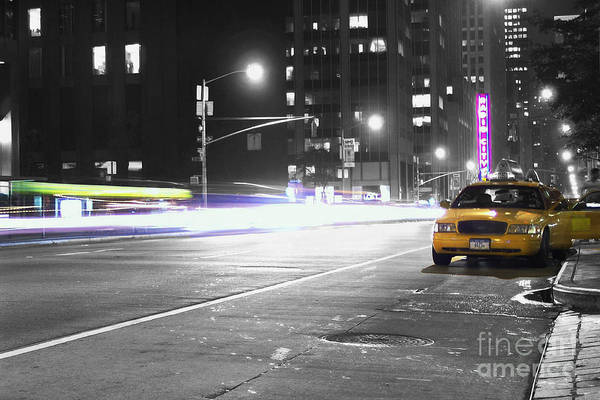 New York City Taxi Photograph - Night Street by Dan Holm