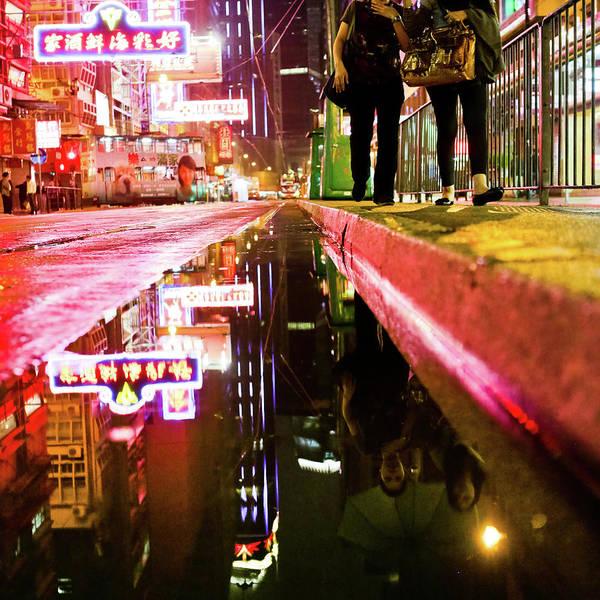 Chinese Language Photograph - Night Street Of Sheung Wan by Andi Andreas