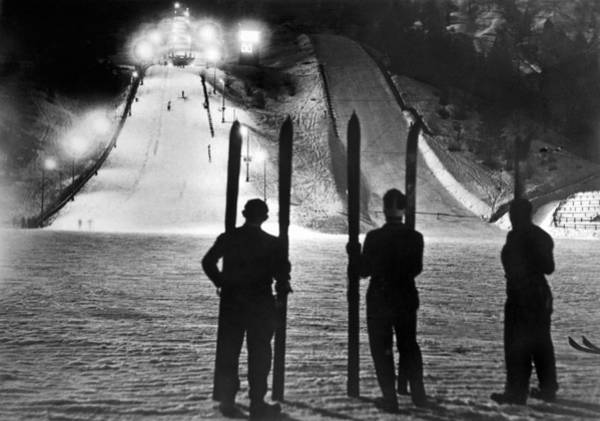 Ski Jumping Photograph - Night Time At The Garmisch by Underwood Archives
